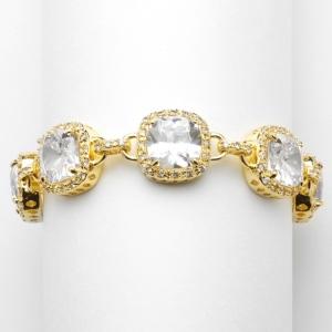 Mariell Magnificent Gold Petite Length Cushion Cut CZ Bridal Or Pageant Bracelet