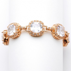 Mariell Magnificent Rose Gold Petite Length Cushion Cut CZ Bridal Or Pageant Bracelet