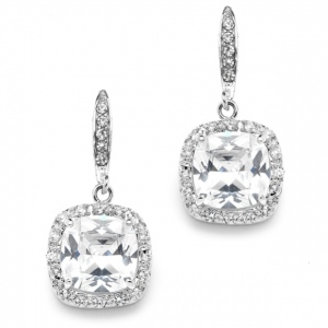 Mariell Magnificent Cushion Cut Cubic Zirconia Wedding Or Pageant Earrings in Platinum Silver