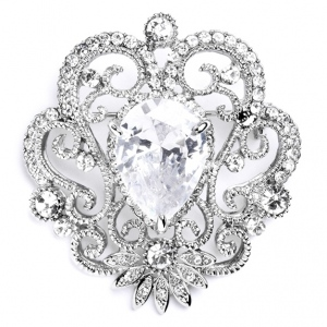 Mariell Vintage Cubic Zirconia Brooch with Teardrop