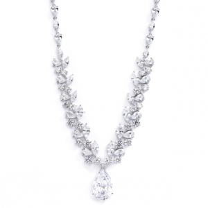 Mariell Breathtaking Cubic Zirconia Red Carpet Drop Wedding Necklace