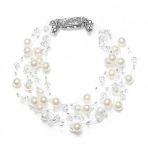 Mariell Lavish 6-Row Pearl & Crystal Bridal Illusion Bracelet
