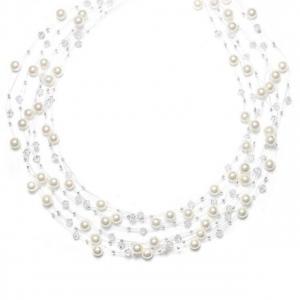 Mariell Lavish 6-Row Pearl & Crystal Bridal Illusion Necklace