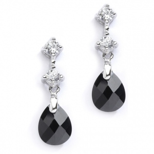 Mariell CZ Bridal Or Bridesmaids Earrings with Jet Black Crystal Drops