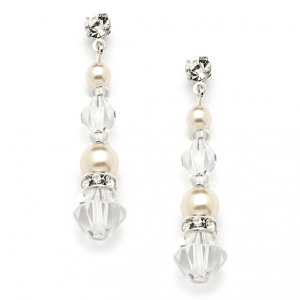 Mariell Pearl & Crystal Dangle Earrings for Weddings, Bridesmaids Or Prom