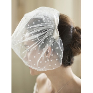 Mariell Retro 1950's Polka Dot Face Veil with Hand Made Satin Bow: Ivory