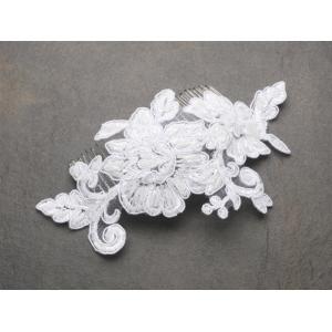 Mariell Romantic English Rose White Lace Wedding Comb