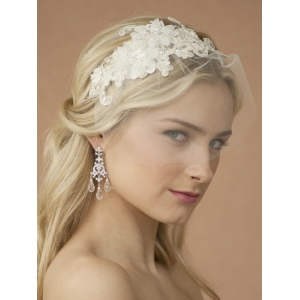 Mariell Handmade Wedding Headband with Ivory European Lace Applique & Petite Veil