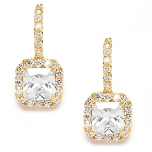 Mariell Gold Radiant Cut Cubic Zirconia Wedding, Prom Or Bridesmaids Earrings