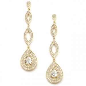 Mariell Gold Micro Pave Cubic Zirconia Teardrop Wedding Earrings