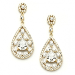 Mariell Gold Cubic Zirconia Mosaic Teardrop Bridal, Prom Or Wedding Earrings