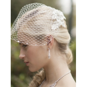 Mariell Bold Crystal White Lace Applique Bridal Veil with French Net Birdcage Blusher and Scattered Crystal Edge