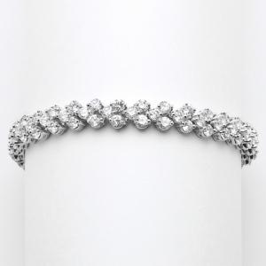 Mariell Elegant Silver Rhodium Cubic Zirconia Wedding Or Prom Tennis Bracelet