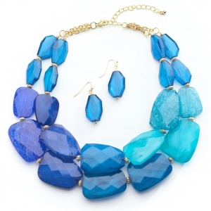 Mariell Blue Tones Chunky Statement Necklace & Earrings for Prom Or Bridesmaids