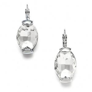 Mariell Clear Crystal Oval Drop Bling Earrings in Silver