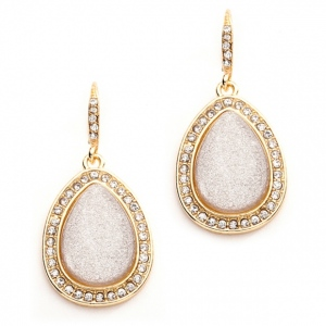 Mariell Beige Glitter Pear with Crystal Frame Wedding Or Prom Earrings