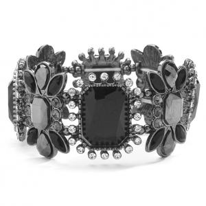 Mariell Gorgeous Crystal, Jet & Hematite Vintage Stretch Bracelet
