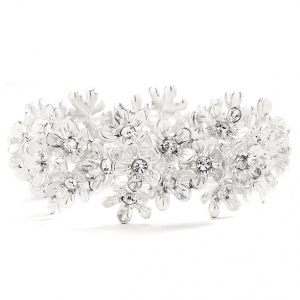 Mariell Matte Silver Sculpted Flowers Prom Or Bridesmaids Stretch Bracelet