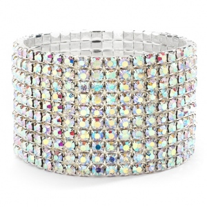 Mariell 10-Row AB Iridescent Rhinestone Wedding Or Prom Stretch Bracelet