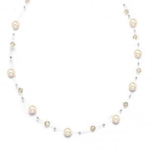 Mariell Pearl & Crystal Bridal or Bridesmaids Illusion Necklace: Honey