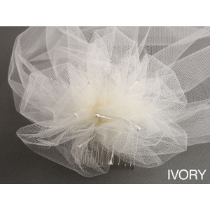 Mariell Tulle Birdcage Veil Bridal Cap with Side Pouf & Stamen Accents: Ivory