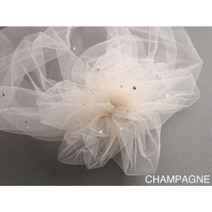 Mariell Tulle Birdcage Veil Bridal Cap with Side Pouf & Swarovski Crystals: Champagne