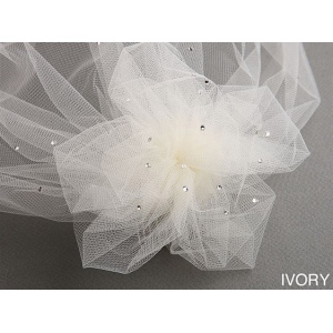 Mariell Tulle Birdcage Veil Bridal Cap with Side Pouf & Swarovski Crystals: Ivory