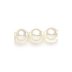 Mariell Single Strand 6mm Pearl Wedding Necklace: Ivory, Gold Clasp, 16""