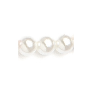 """Mariell Single Strand 6mm Pearl Wedding Necklace: White, Gold Clasp, 16"""""""