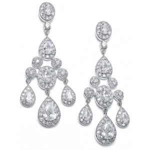Mariell Regal Wedding Chandelier Earrings in Pave Encrusted CZ