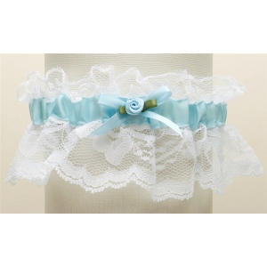 Mariell Hand-Sewn Vintage Lace Wedding Garters: White with Blue