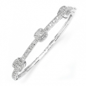 Mariell Vintage Cubic Zirconia Delicate Wedding Bangle