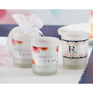 Personalized Frosted Glass Votive: Botanical