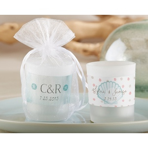 Personalized Frosted Glass Votive: Beach Tides