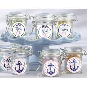 Personalized Glass Favor Jars, Kate's Nautical Bridal Shower Collection: Set of 12