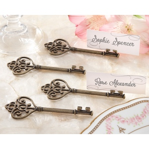 Key To My Heart, Victorian-Style Key Place Card Holder: Set of 4