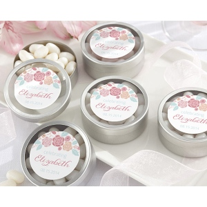 Personalized Round Candy Tin, Kate's Rustic Bridal Shower Collection: Set of 12