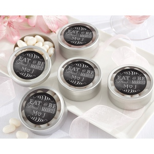 Personalized Silver Round Candy Tin, Eat, Drink & Be Married: Set of 12