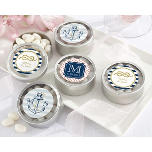 Personalized Round Candy Tin, Kate's Nautical Wedding Collection: Set of 12