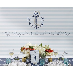 Personalized Photo Booth Backdrop: Kate's Nautical Wedding Collection: Light Blue Stripe Anchor
