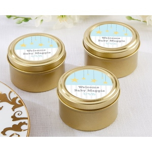 Personalized Gold Round Gold Candy Tin, To the Moon & Back: Set of 12