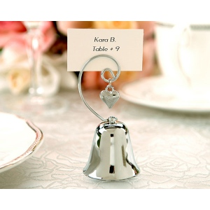 Charming Chrome Bell Place Card, Photo Holder with Dangling Heart Charm: Set of 4