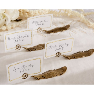 Gilded Gold, Feather Place Card Holders: Set of 6