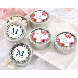 Personalized Silver Round Candy Tin, Botanical: Set of 12