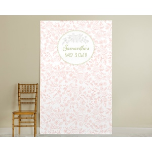 Personalized Photo Booth Backdrop, Kate's Rustic Baby Shower Collection: Flowers