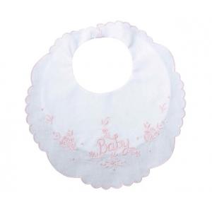 "Lillian Rose Baby Bib: 8.5"" x 9"", Pink"