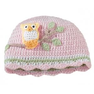 Lillian Rose Pink Owl Cap 0-6 Months