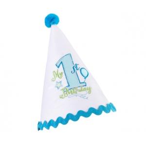 Lillian Rose First Birthday Cap: Blue
