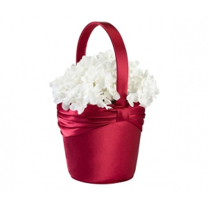Lillian Rose Satin Sash Flower Basket - Red