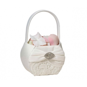 Lillian Rose Vintage Lace Basket - Cream